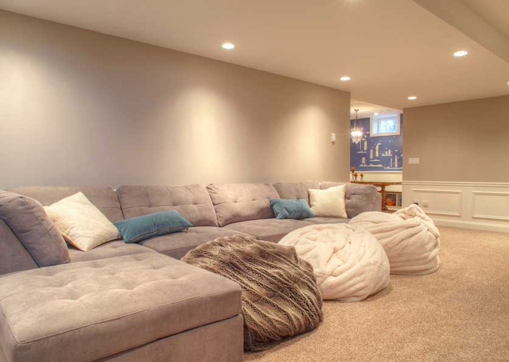 grey painted basement
