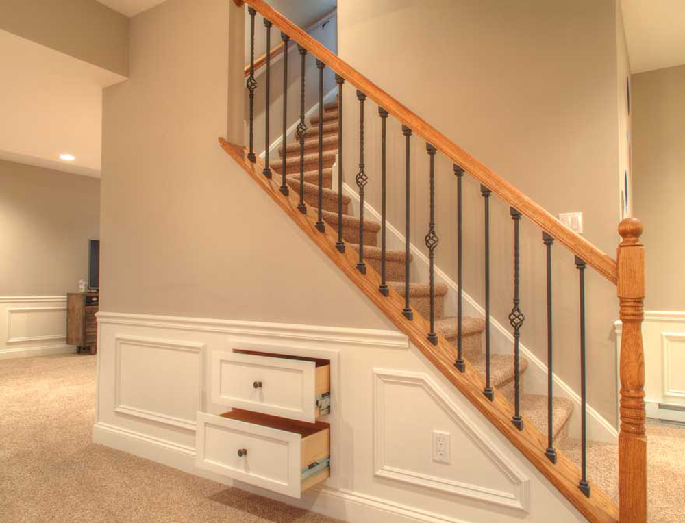 stair remodel with pull-out drawers
