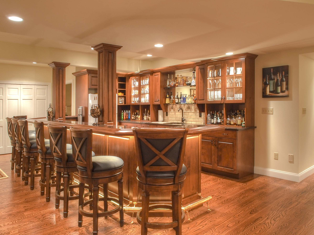 custom wooden basement bar